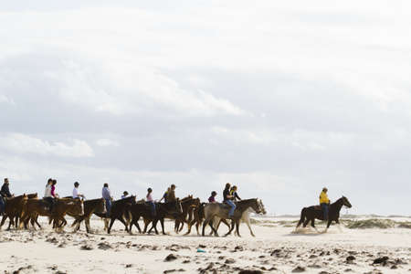 Horeseback riding on the beach of South Padre Island, TX.
