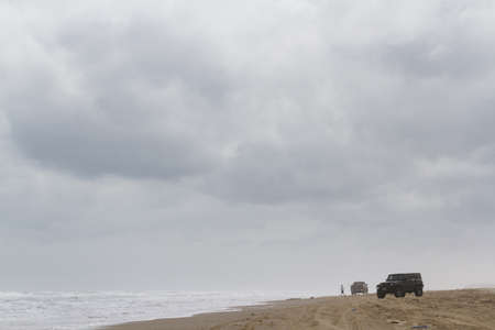 Driving jeep on the beach of South padre Island, TX. Stock Photo - 17175269