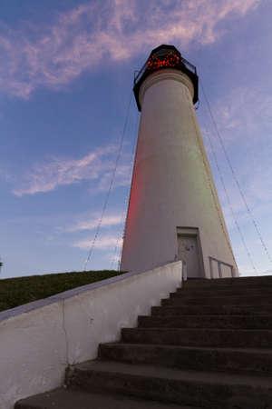 port isabel: Port Isabel Lighthouse near South Parde Island, TX. Stock Photo