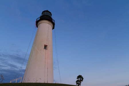 Port Isabel Lighthouse near South Parde Island, TX. Stock Photo