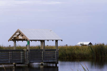 cameron county: Bird blind on South Padre Island, TX. Stock Photo