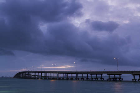 queen isabella: Sunrise over Queen Isabella Causeway Bridge, TX.