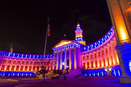 denver city and county building: Denvers City and County building decorated for the Denver Broncos game.