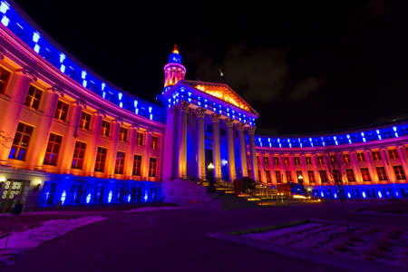 Denvers City and County building decorated for the Denver Broncos game.