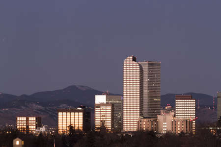 Denver skyline at sunrise in the winter. photo