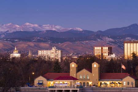 Denver skyline at sunrise in the winter. Stock Photo - 17406735