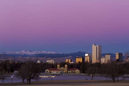 Denver skyline at sunrise in the winter. Stock Photo - 17406736