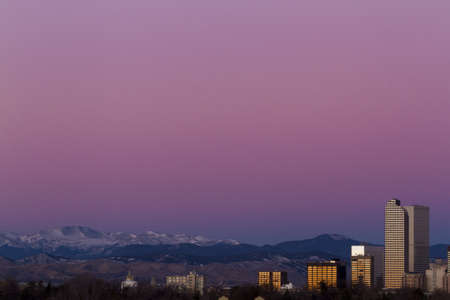 Denver skyline at sunrise in the winter. Stock Photo - 17406738