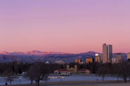 Denver skyline at sunrise in the winter. Stock Photo - 17406725