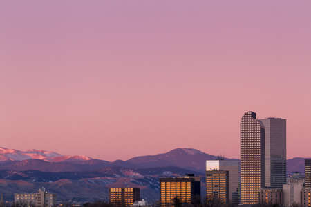 Denver skyline at sunrise in the winter. Stock Photo - 17406724