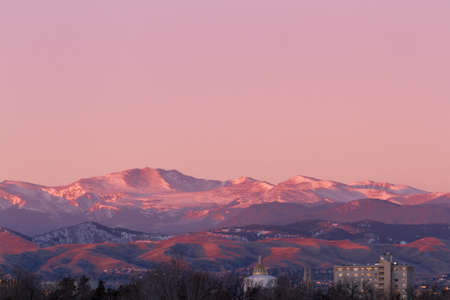 Denver skyline at sunrise in the winter. Stock Photo - 17406723