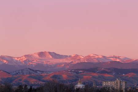 denver at sunrise: Denver skyline at sunrise in the winter.
