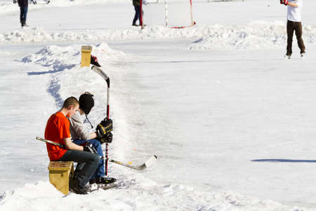 2012-2013 Winter Season. Ice skating on Evergreen Lake, Colorado.