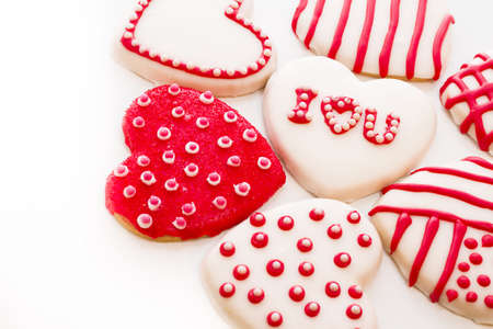 pastrie: Gourtmet heart shaped cookies decorated for Valentines Day. Stock Photo