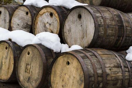 fermenters: Breckenridge distillery  utilized traditional open-top Scottish style fermenters and distill in a 700 Gallon Vendome custom copper combination pot still. Stock Photo