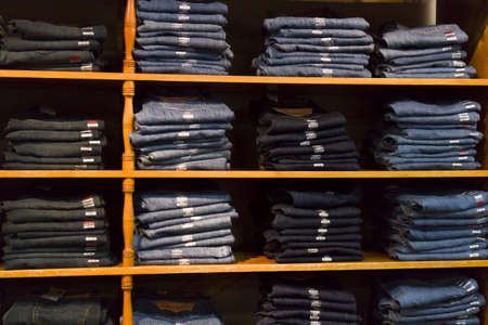 Cowboy blue jeans on dispaly in the store.