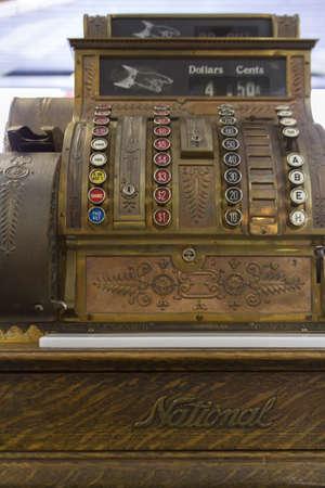 cash register building: Old cash register close-up.