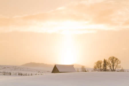 winter sunrise: Winter farm in Steamboat Springs, Colorado.