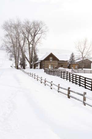 Winter farm in Steamboat Springs, Colorado