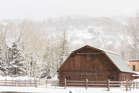 A new barn in winter landscape. Stock Photo - 17713122