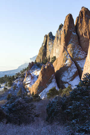 rocky mountain juniper: Garden of the gods after fresh snow fall. Stock Photo