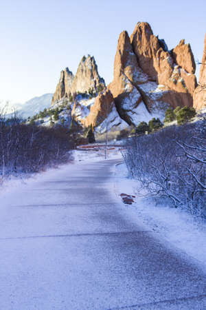 Garden of the gods after fresh snow fall. photo