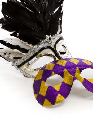 Mardi Gras masks on white backgound. Stock Photo - 17874094