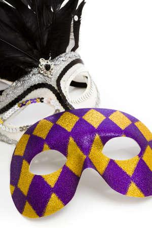 Mardi Gras masks on white backgound. Stock Photo - 17874126