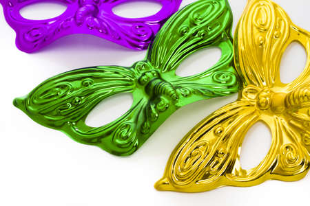 Mardi Gras masks on white backgound. Stock Photo - 17874083