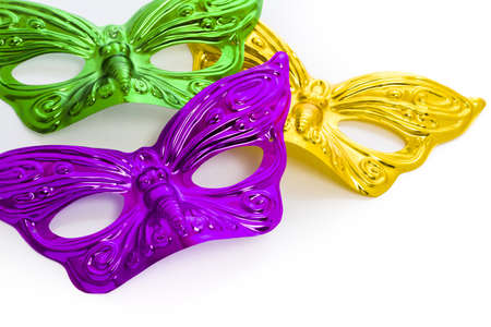 Mardi Gras masks on white backgound.