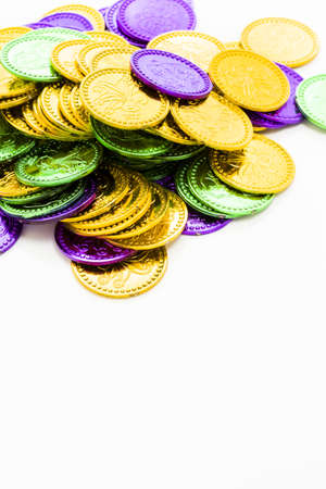 Multi color Mardi Gras tokens on white background. Stock Photo - 17908126