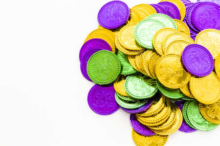 Multi color Mardi Gras tokens on white background. Stock Photo - 17908355