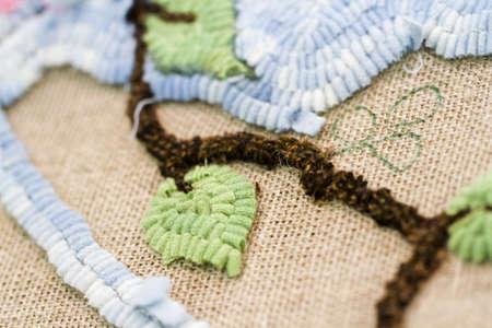 hooking: Work in progress of rug hooking. Stock Photo
