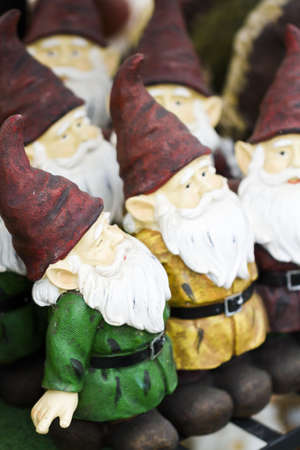 handmade garden gnomes on the display. Stock Photo - 17908279