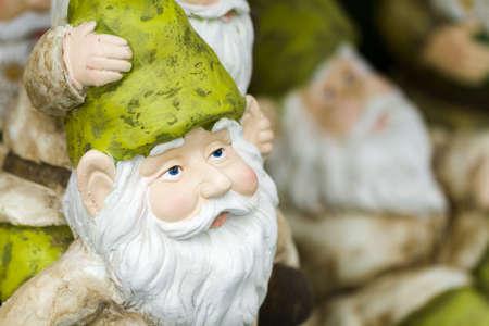 handmade garden gnomes on the display. Stock Photo - 17908334
