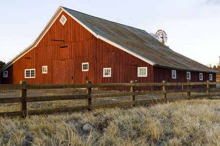 old barn in winter: 17mile House Farm Park museum in Parker, Colorado.