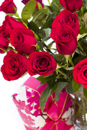Bouquet of red roses on white backround. photo