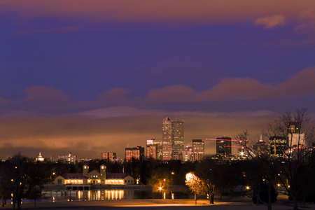 Denver skyline at sunrise in the winter. photo
