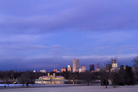Denver skyline at sunrise in the winter. Stock Photo - 17956617
