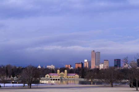 Denver skyline at sunrise in the winter. Stock Photo - 17956623