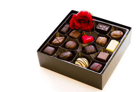fancy sweet box: Assorted gourmet chocolate in a box.