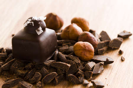 Gourmet dark chocolate with hazelnut truffles hand made by chocolatier. Stok Fotoğraf