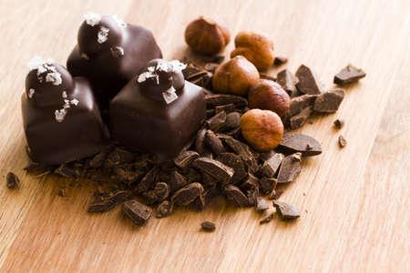 cobnut: Gourmet dark chocolate with hazelnut truffles hand made by chocolatier. Stock Photo