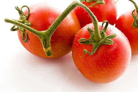 vegetare: Organic Roma tomatoes on white background. Stock Photo