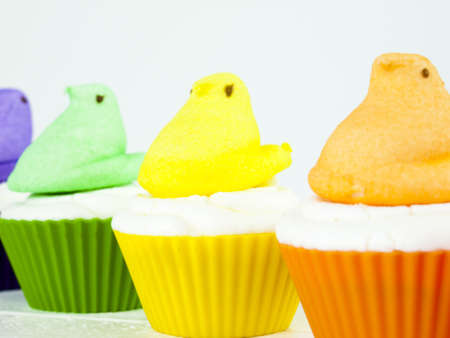 Pascua cupcakes con pollitos de malvavisco. photo