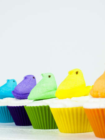 Easter cupcakes with marshmallow chicks. Stock Photo - 18092778