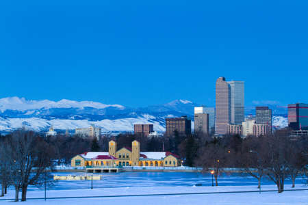 denver skyline at sunrise: A view of downtown Denver before sunrise.