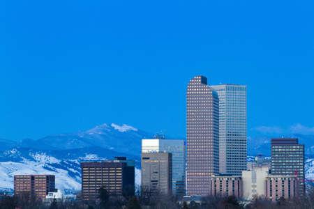 denver parks: A view of downtown Denver before sunrise.