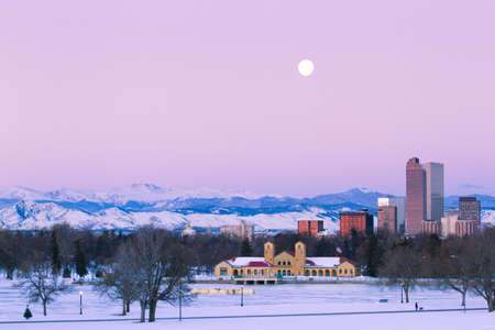 A view of downtown Denver before sunrise. photo