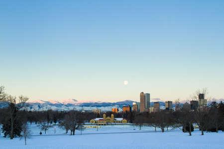 denver at sunrise: A view of downtown Denver before sunrise.